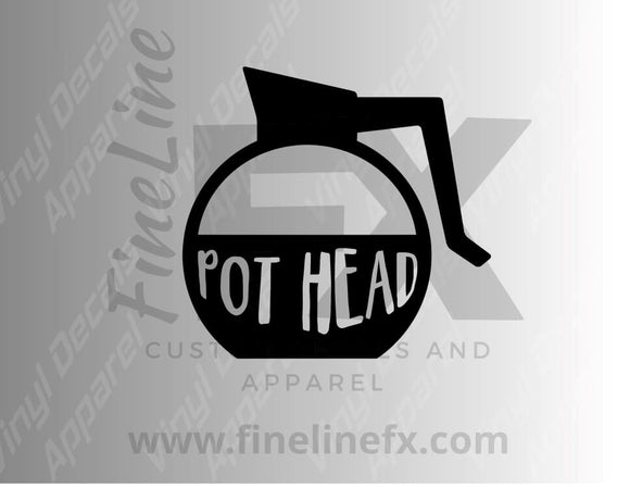 Coffee Lover Pot Head Vinyl Decal Sticker - FineLineFX