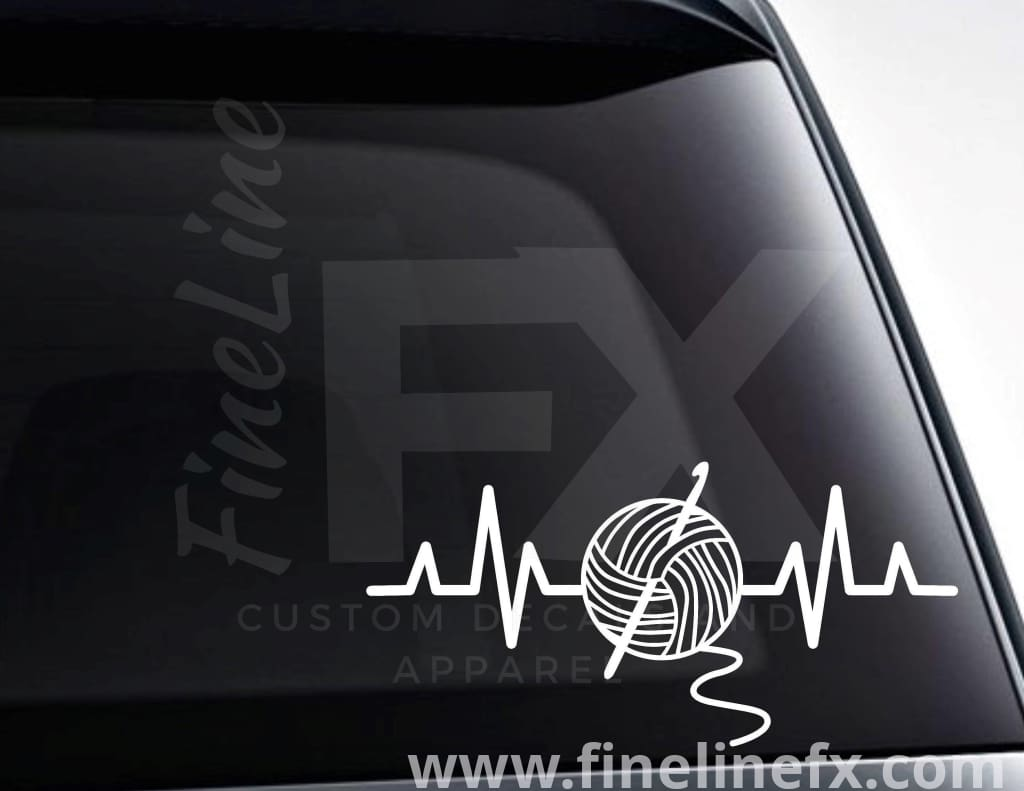 Crochet EKG Heartbeat Vinyl Decal Sticker