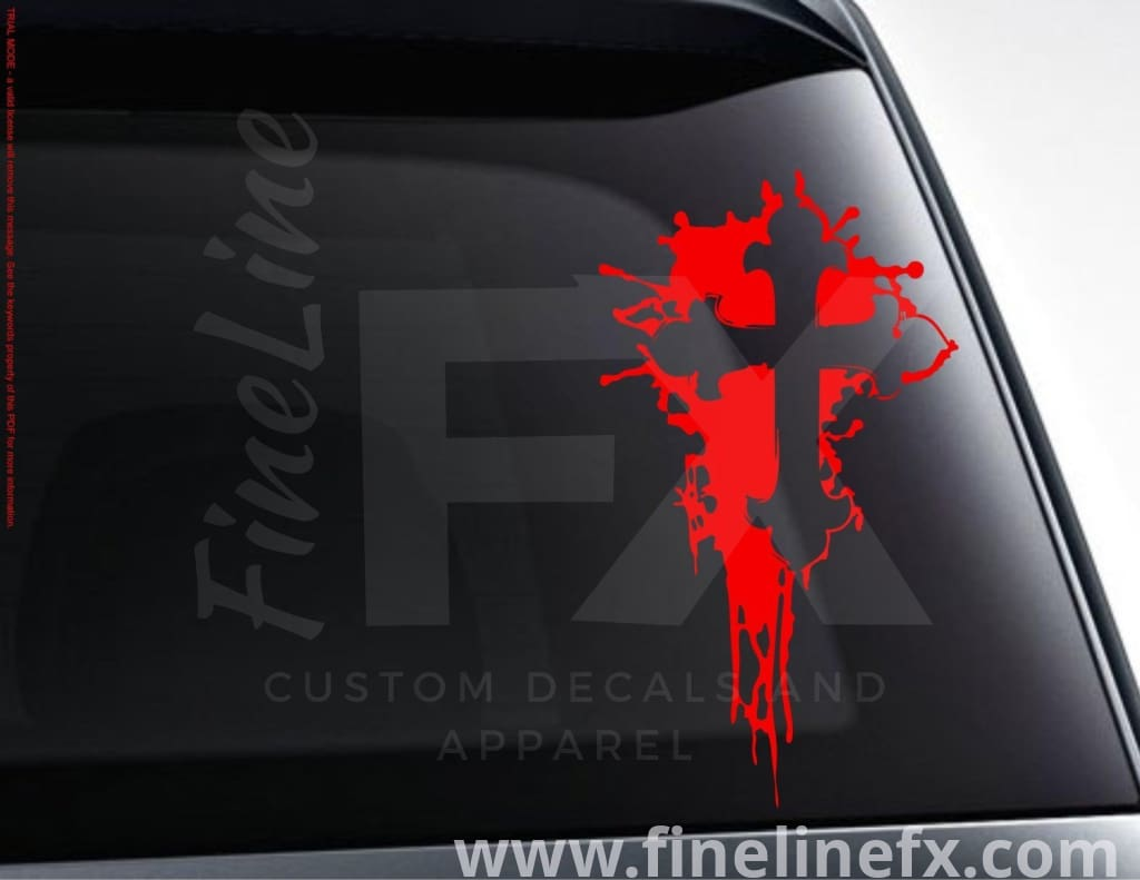 Cross And Ink Splat Vinyl Decal Sticker