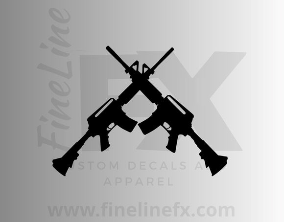 Crossed Semi Automatic AR15 Rifles Vinyl Decal Sticker - FineLineFx