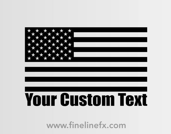USA American Flag With Your Custom Text Vinyl Decal Sticker - FineLineFX