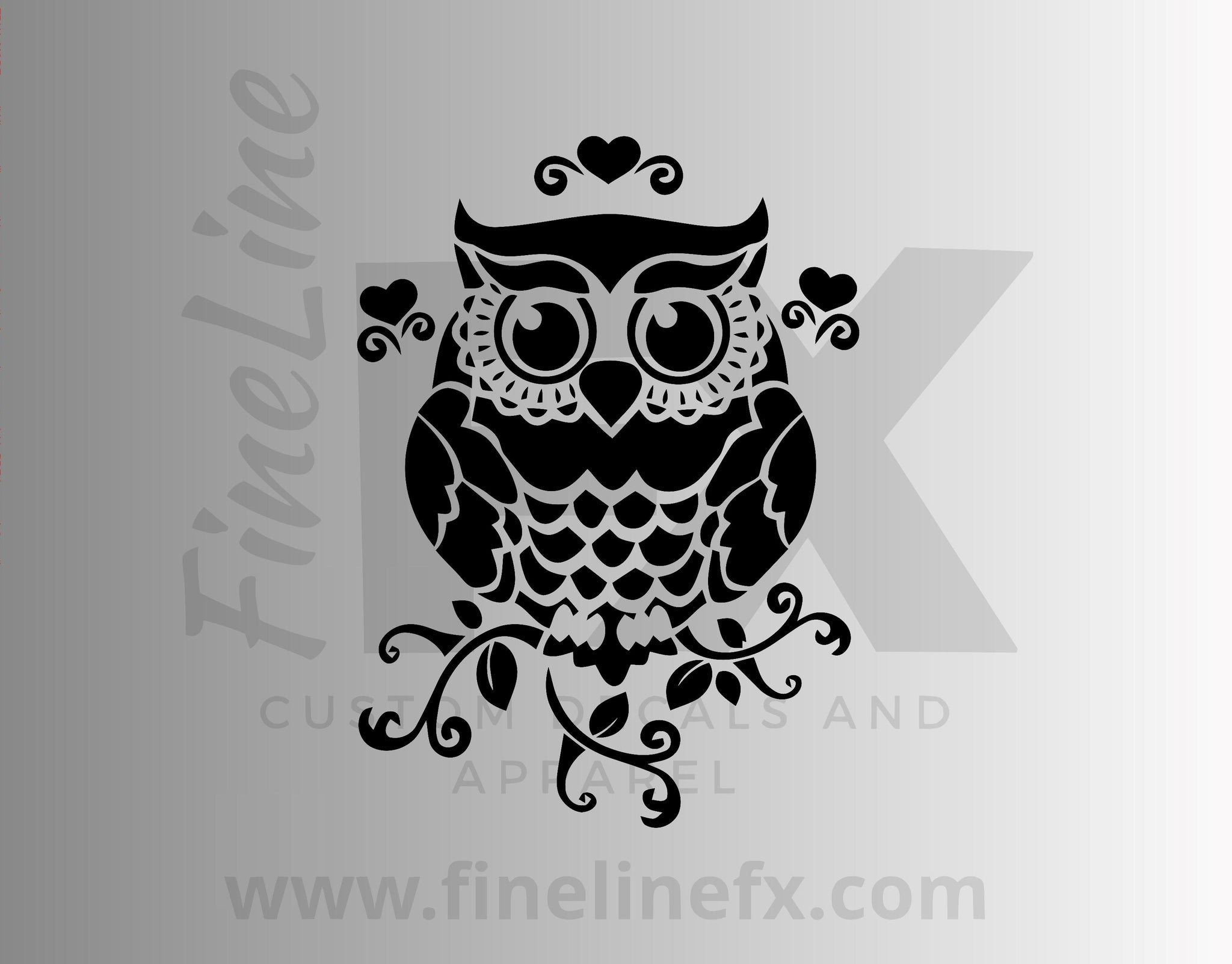 Cute Owl On A Branch Vinyl Decal Sticker