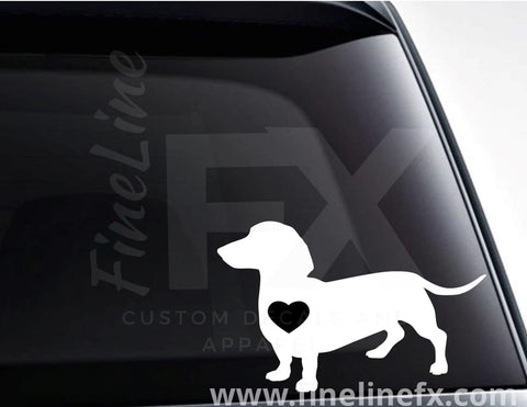 Dachshund Dog With A Heart Vinyl Decal Sticker