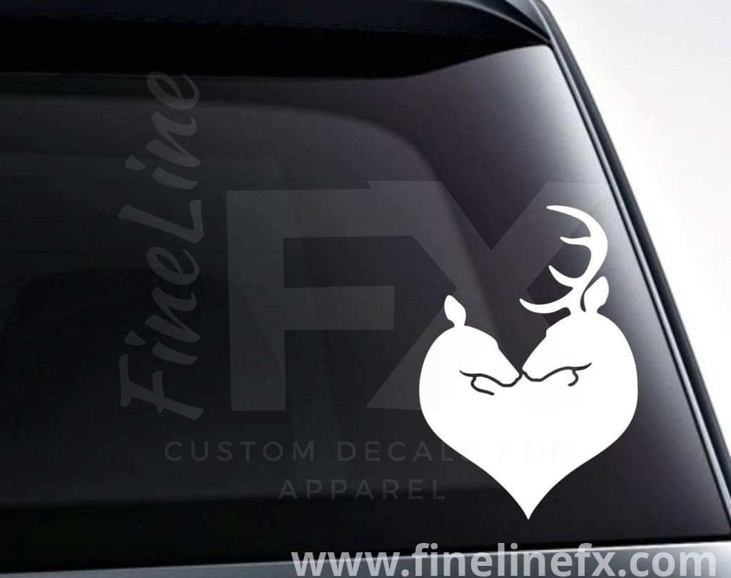 Deer Heart Buck And Doe Vinyl Decal Sticker