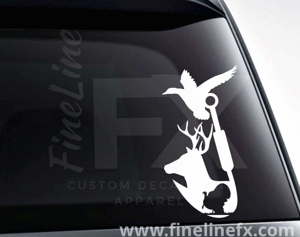 Deer Turkey Duck And Fishing Hook Vinyl Decal Sticker