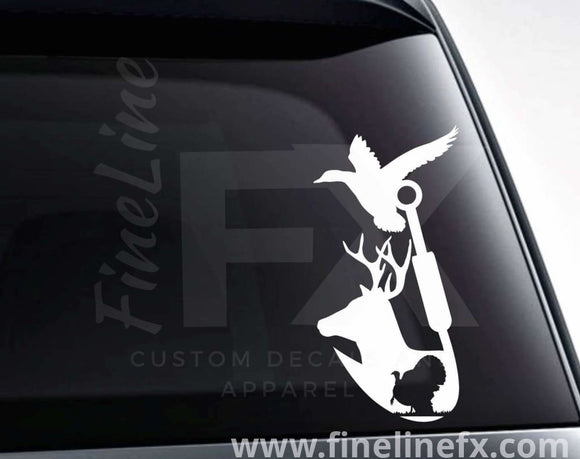 Deer Turkey Duck And Fishing Hook Vinyl Decal Sticker - FineLineFX