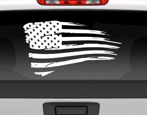 Distressed American Flag Vinyl Decal Sticker USA Patriotic Decal