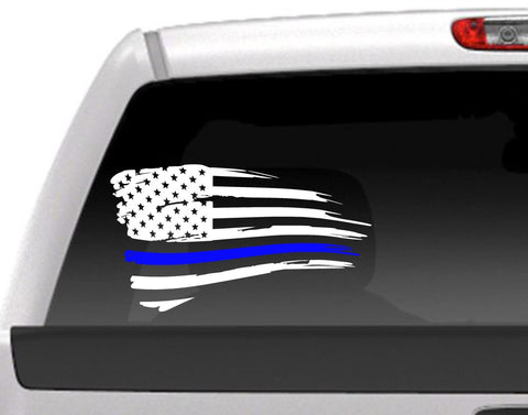 Distressed American Flag With Blue Line For Police Support Vinyl Decal Sticker