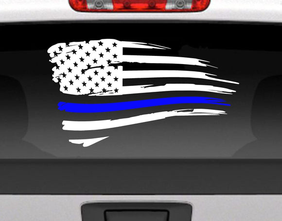 Distressed American Flag With Blue Line For Police Support Vinyl Decal Sticker - FineLineFX