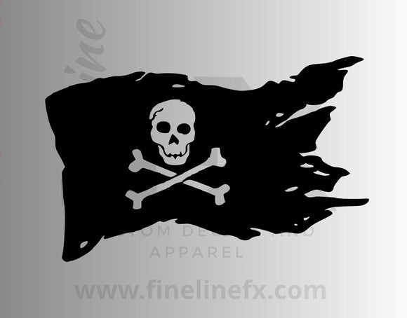 Pirate Flag Skull And Crossbone Vinyl Decal Sticker - FineLineFX