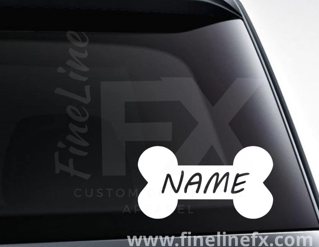Dog Bone Personalized Dog Name Dog Bowl Vinyl Decal Sticker