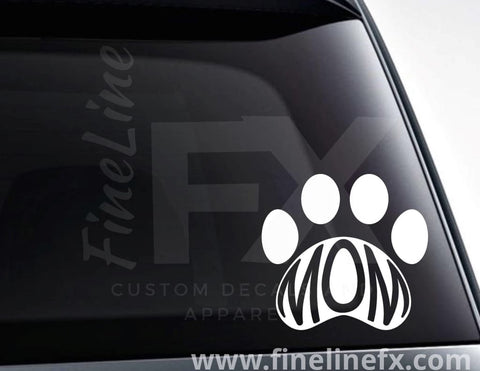 Dog Mom Paw Print Vinyl Decal Sticker