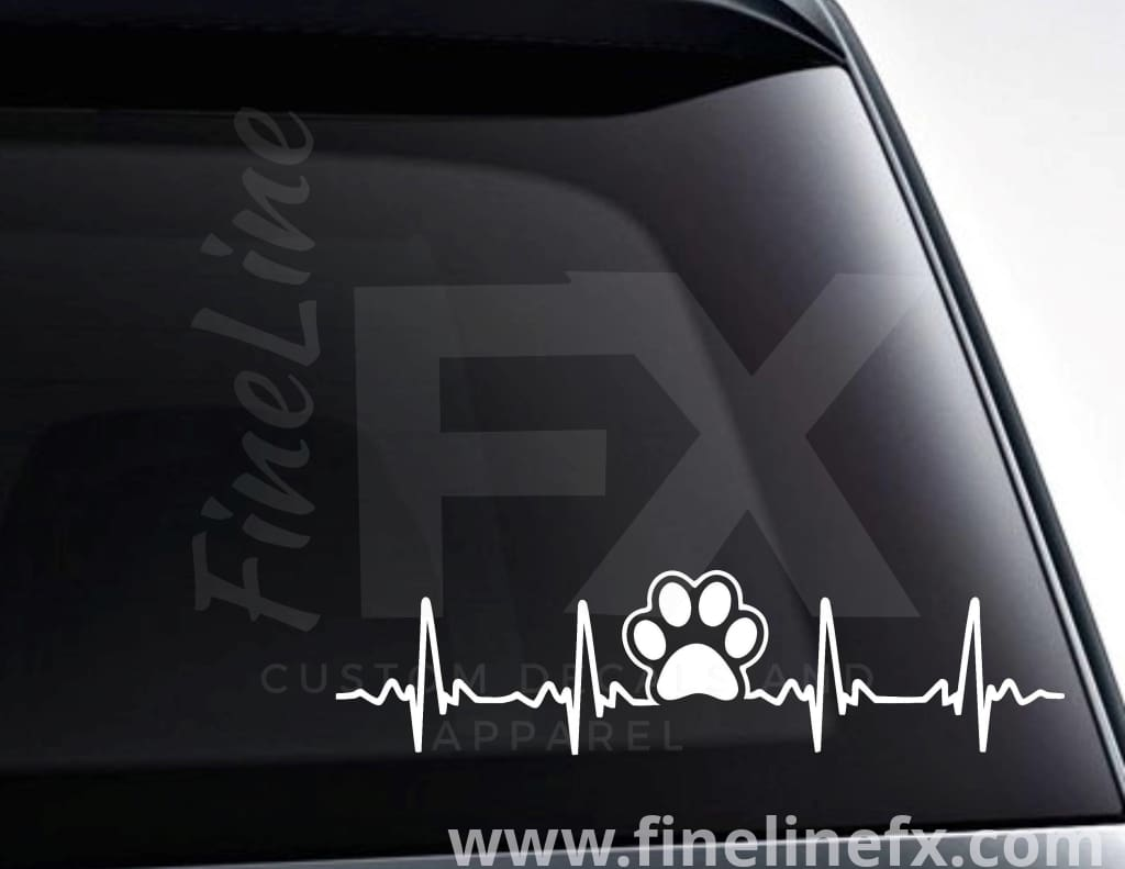 Dog Paw Print EKG Heartbeat Viny Decal Sticker