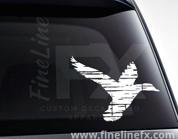 Duck Hunting Distressed Duck Vinyl Decal Sticker - FineLineFX