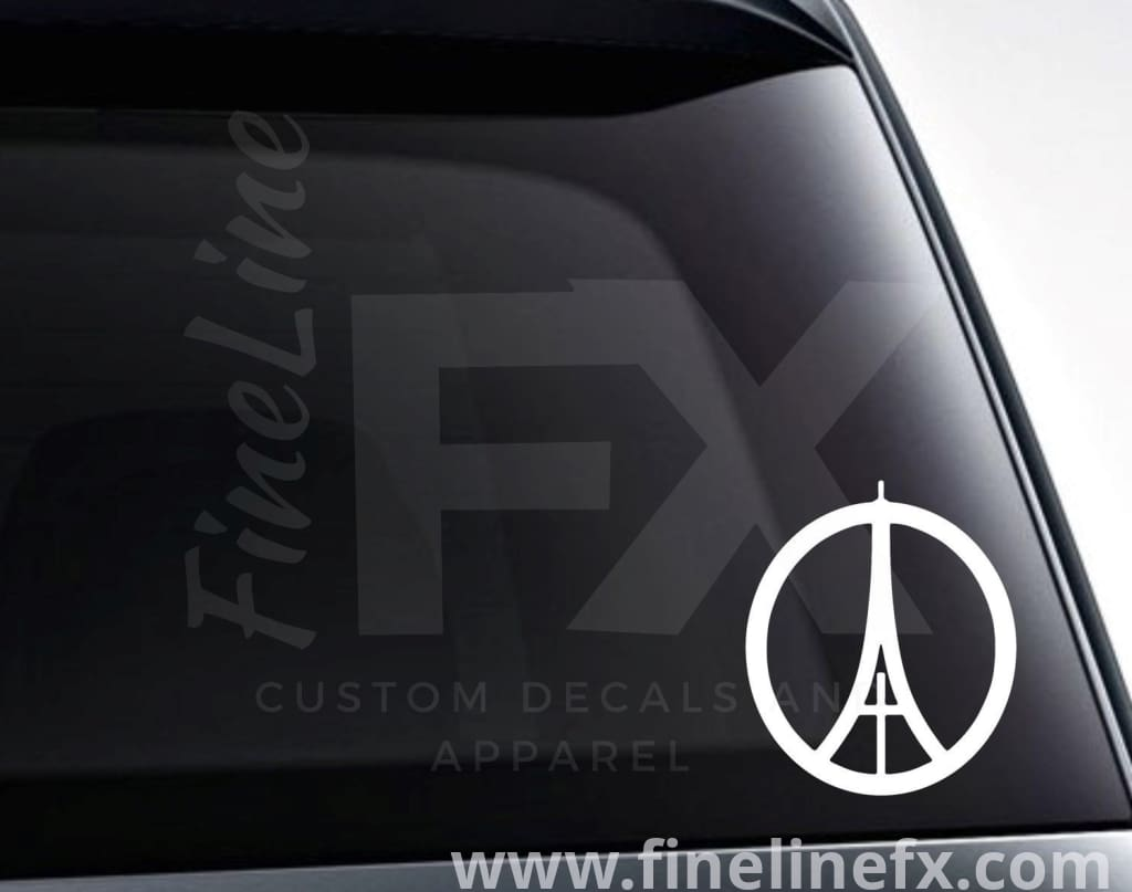 Eiffel Tower Peace Sign Vinyl Decal Sticker