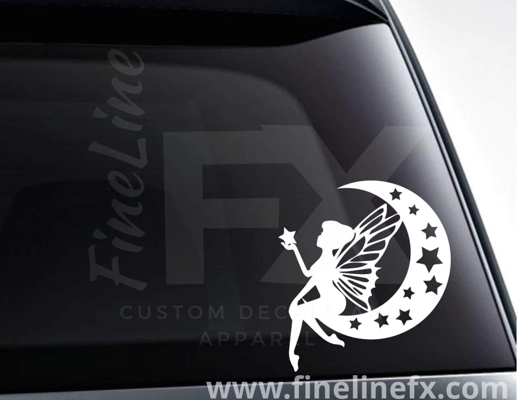 Fairy On A Crescent Moon Vinyl Decal Sticker