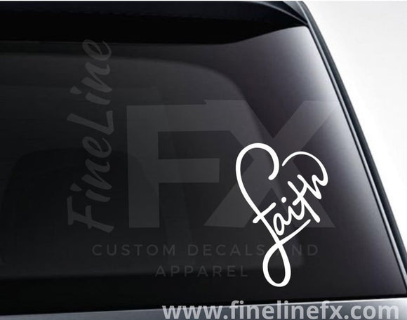 Faith Infinity Heart Vinyl Decal Sticker - FineLineFX