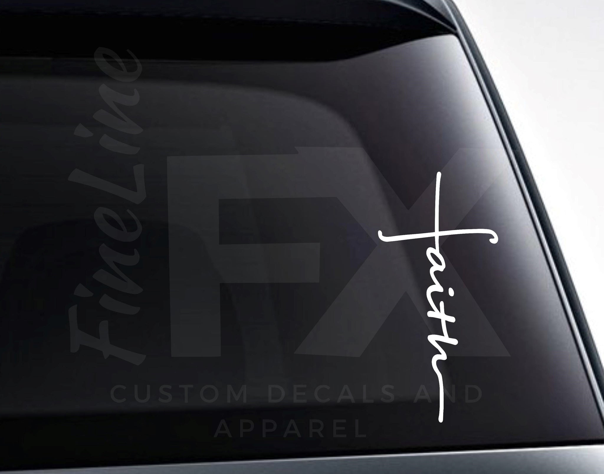 Faith Word Cross Christian Cross Vinyl Decal Sticker