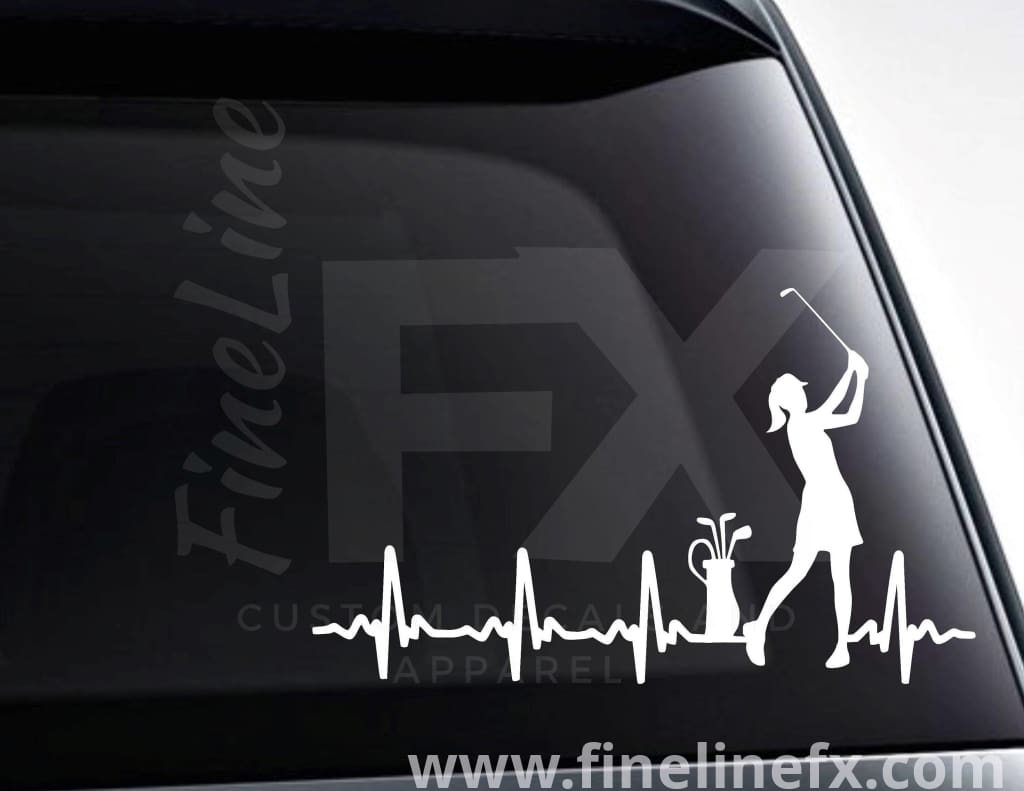 Female Golfer EKG Heartbeat Vinyl Decal Sticker