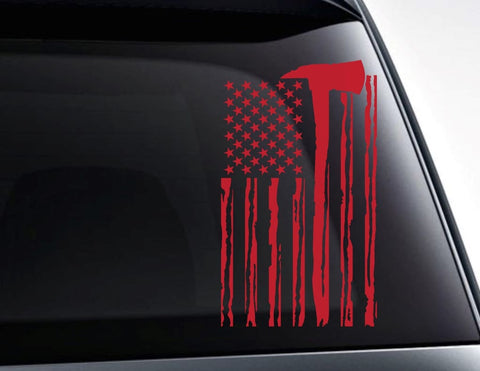 Fireman Axe USA American Flag Vinyl Decal Sticker