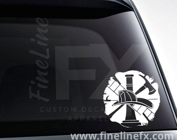 Firefighter Emblem Axe And Helmet Vinyl Decal Sticker - FineLineFX