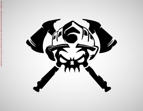 Fireman Skull With Crossed Axes Vinyl Decal Sticker
