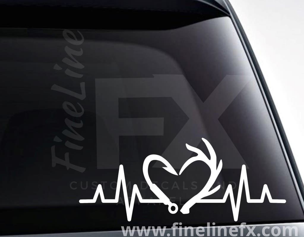 Fishing Hook And Deer Antlers EKG Heartbeat Vinyl Decal Sticker