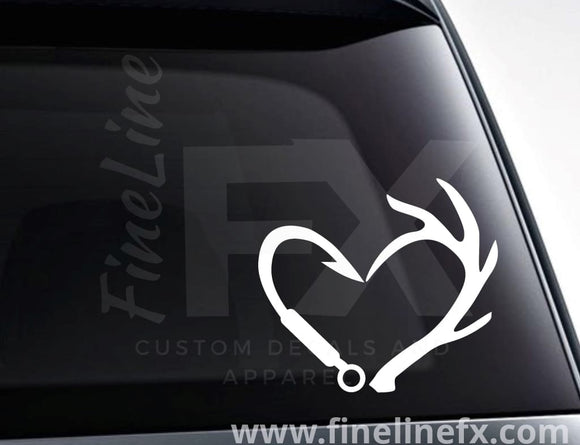 Fishing Hook And Deer Antlers Heart Vinyl Decal Sticker - FineLineFX