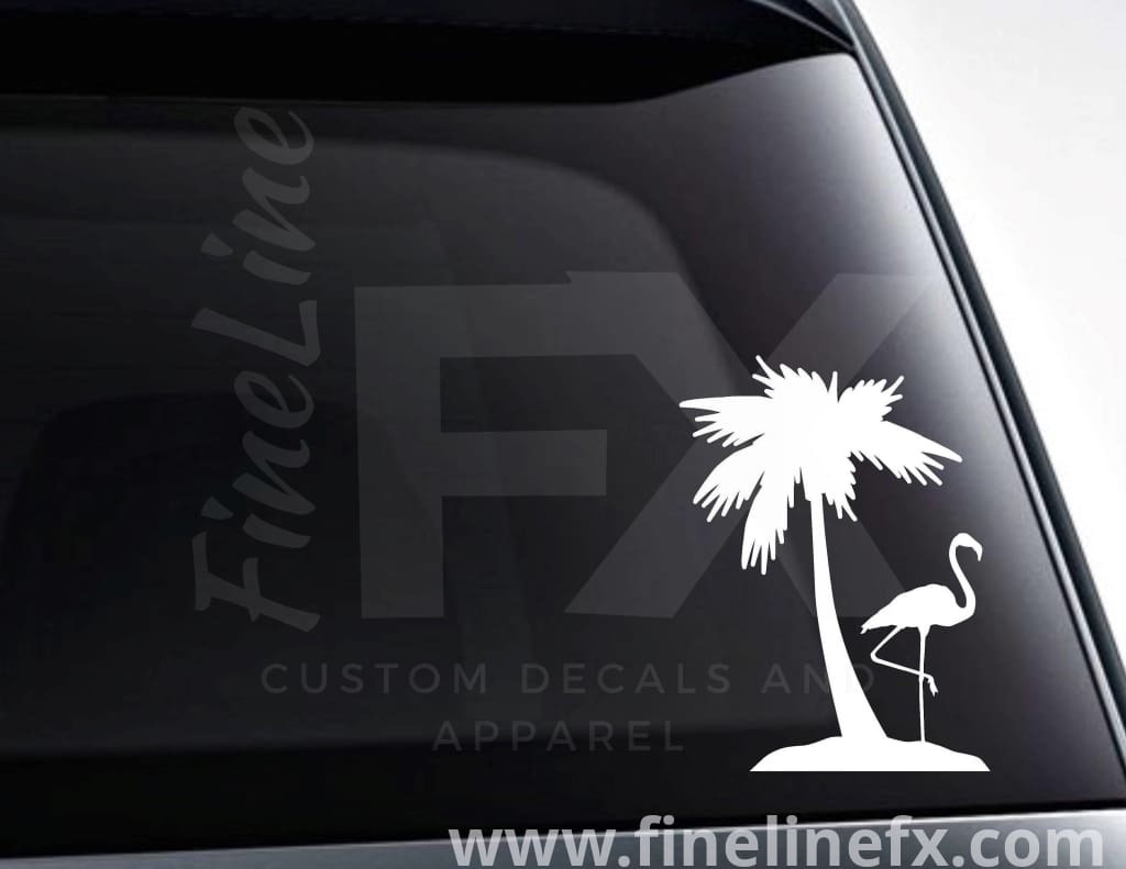 Flamingo And Palm Tree Vinyl Decal Sticker