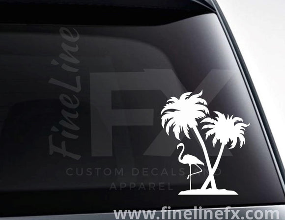 Flamingo And Palm Trees Vinyl Decal Sticker - FineLineFX