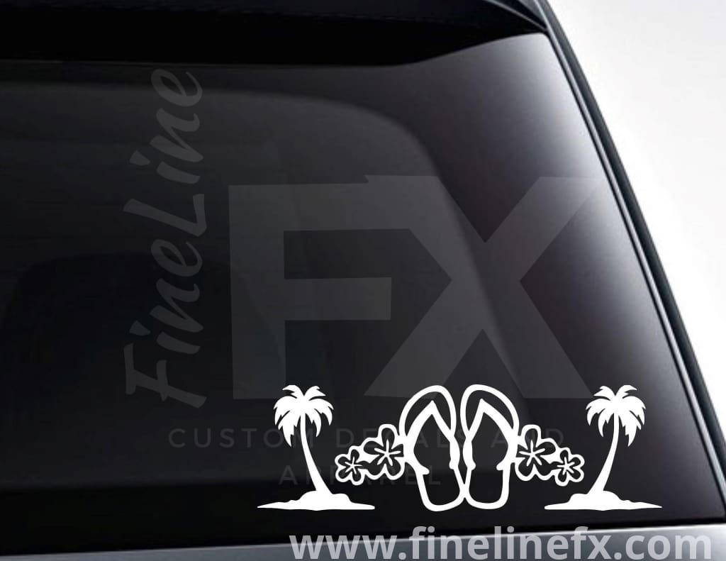 Flip Flops Tropical Flowers And Palm Trees Vinyl Decal Sticker