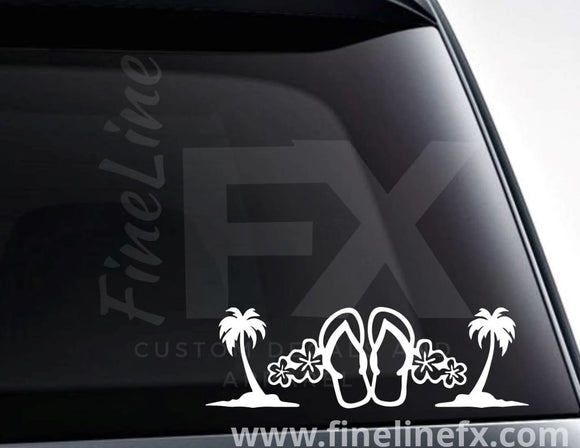 Flip Flops Tropical Flowers And Palm Trees Vinyl Decal Sticker - FineLineFX