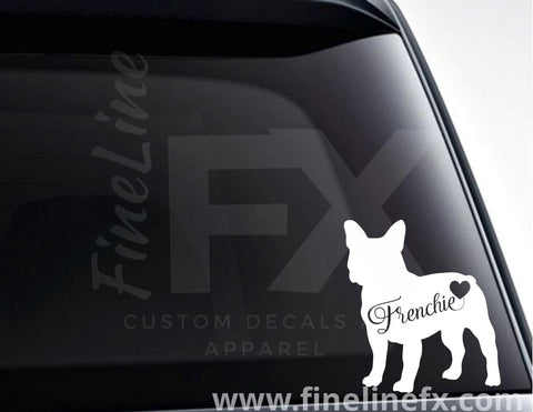 French Bulldog Frenchie With A Heart Vinyl Decal Sticker