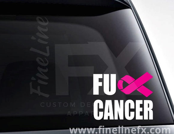 Fuck Cancer Cancer Ribbon Vinyl Decal Sticker - FineLineFX