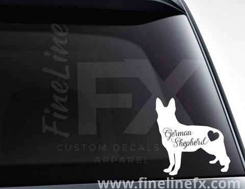 German Shepherd With Heart Vinyl Decal Sticker