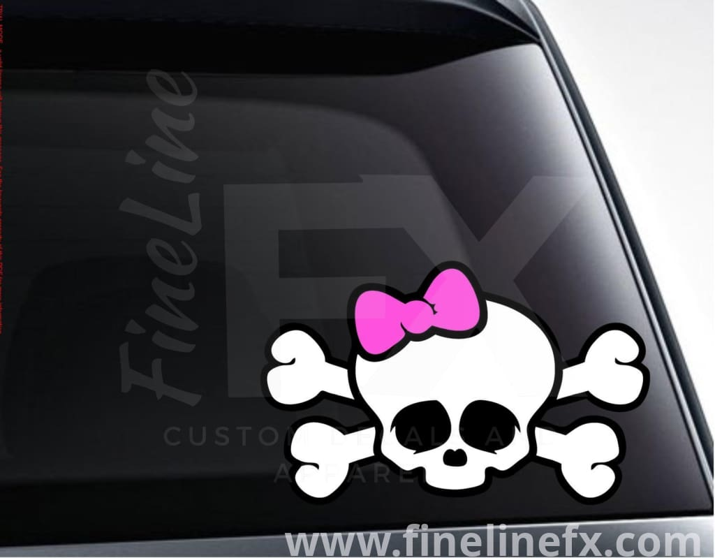 Girl Skull With Pink Bow 3 Color Vinyl Decal Sticker