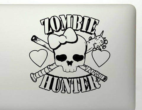 Girl Zombie Hunter Skull Vinyl Decal Sticker