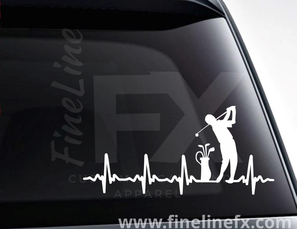 Golfing EKG Heartbeat Vinyl Decal Sticker