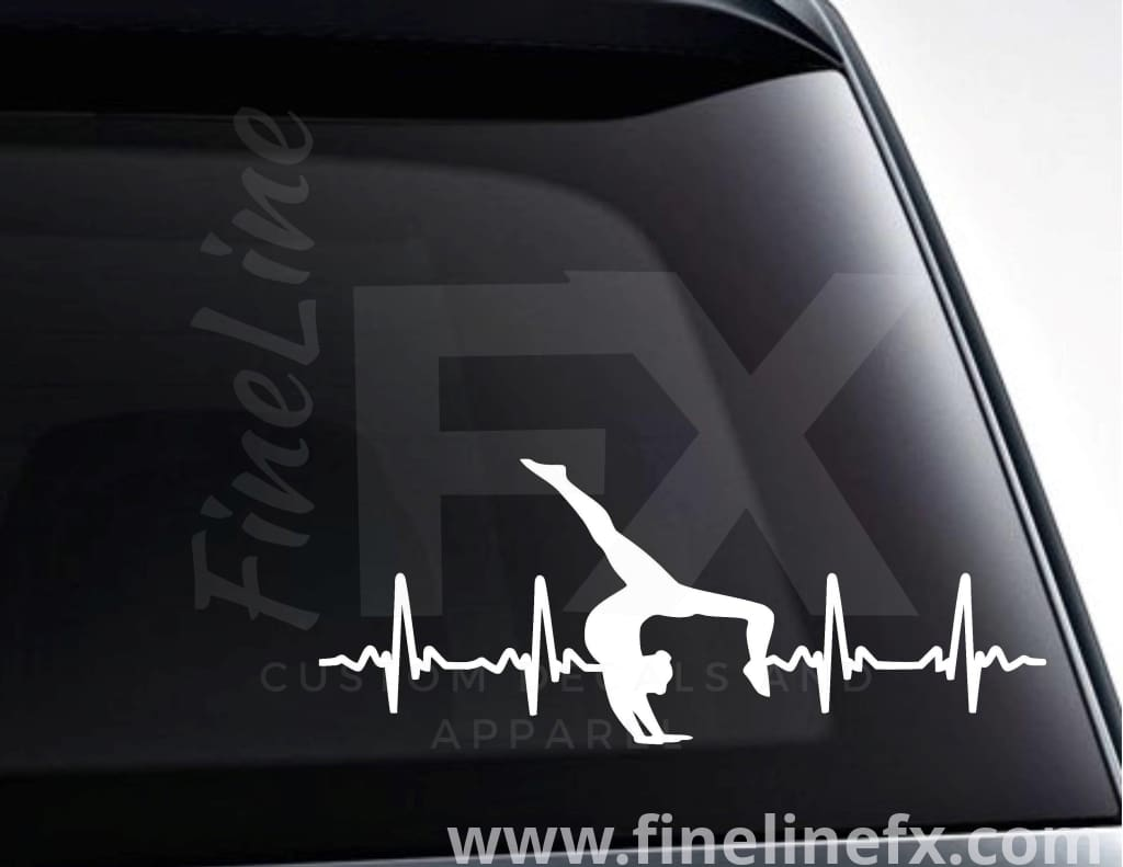 Gymnast Gymnastics EKG Heartbeat Vinyl Decal Sticker