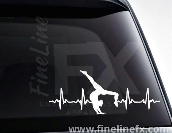Gymnast Gymnastics EKG Heartbeat Vinyl Decal Sticker - FineLineFX