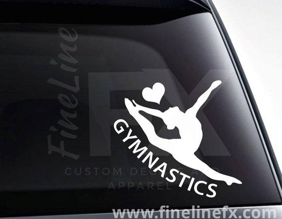 Gymnastics Love Vinyl Decal Sticker - FineLineFX