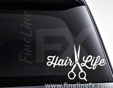 Hair Life, Hairstylist Scissors Vinyl Decal Sticker
