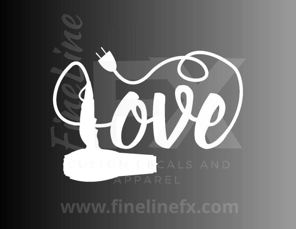 Love Hairstylist Blow Dryer Vinyl Decal Sticker