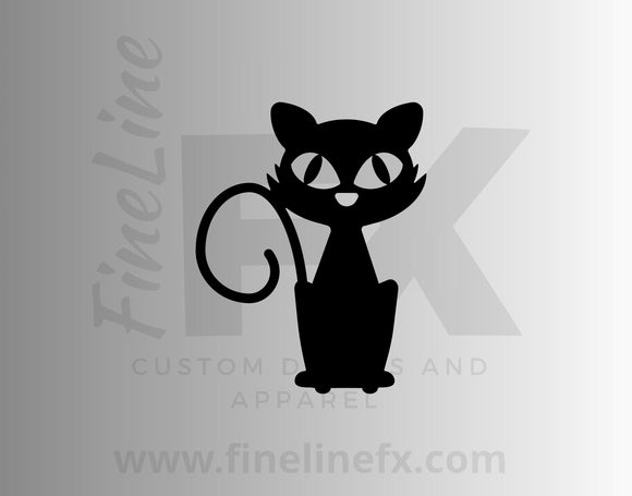 Halloween Black Cat Vinyl Decal Sticker - FineLineFX