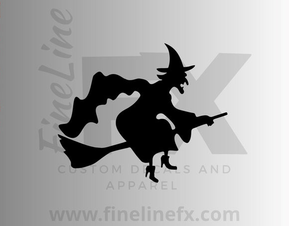 Witch On A Broomstick Vinyl Decal Sticker - FineLineFX