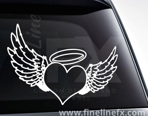 Heart With Angel Wings And Halo Memorial Vinyl Decal Sticker