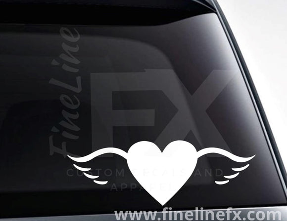 Heart With Wings Vinyl Decal Sticker - FineLineFX