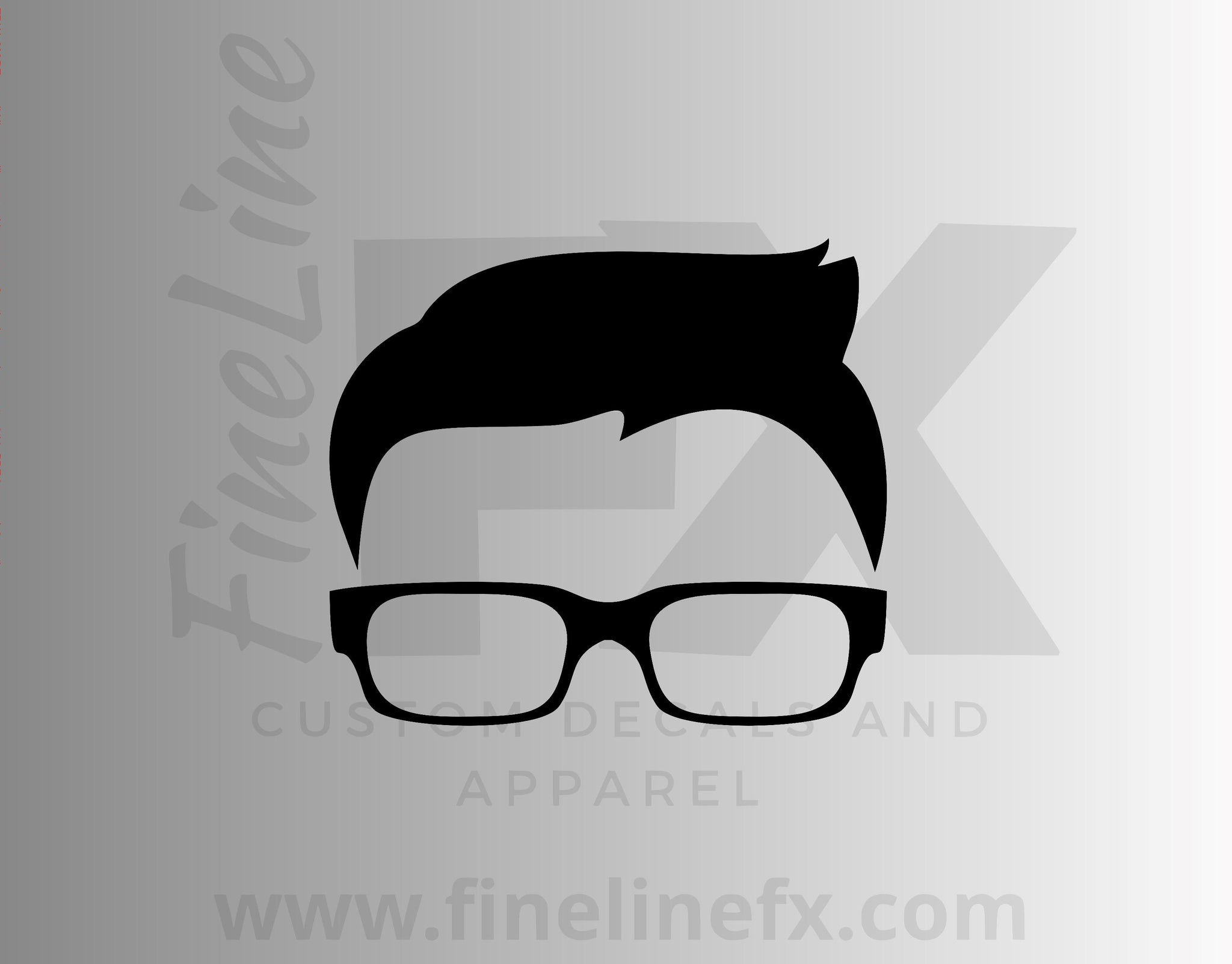 Hipster Guy With Glasses Vinyl Decal Sticker