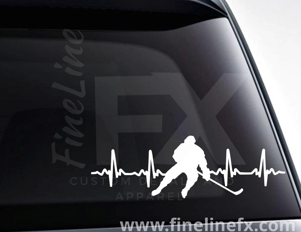Hockey EKG Heartbeat Vinyl Decal Sticker