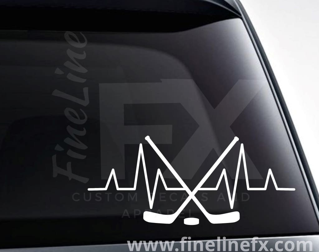 Hockey Sticks EKG Heartbeat Vinyl Decal Sticker